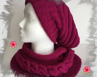 All adult/women/teens with 1 cup + 1 neck, wool spring colors Fuchsia/raspberry