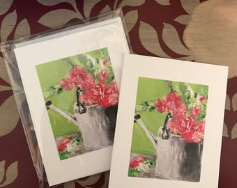 Garden flowers, Set of 5 blank notecards, original artwork copies