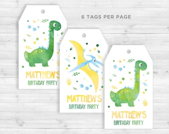Favor Tags Dinosaur, Dino Tags, Dinosaur Party, Watercolor, Dino Favor Tags, Dinosaur Party Kids, Dinosaur Printable, Cuztomizable Tags