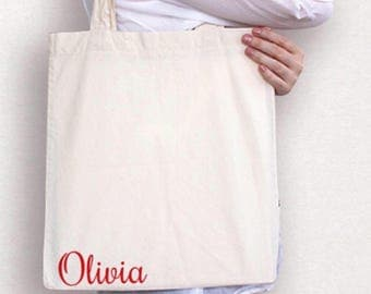 Personalized cotton tote bag , market bag with name on bottom , back to school bag , daughters going to grandmas bag , overnight bag