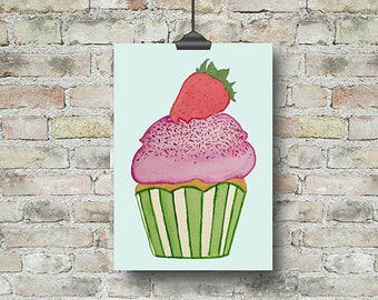 Cupcake Wall Art cupcake print | etsy