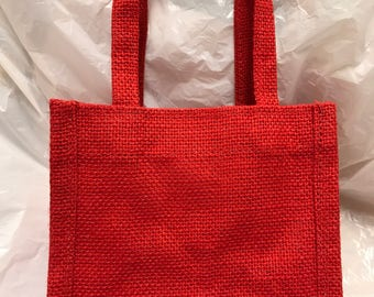Red Jute Gift Bag, Jam Gift Bag, Natural Gift Bag, Tote Bag, Rustic Bag, Burlap Bag, Wedding Favour Bag, Party Bag, Christmas Gift Bag