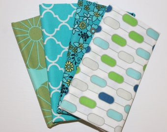 SALE - 4 Fat Quarters - green and blue - cotton fabric