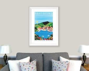 POSTER Portofino, Italy. Print of original collage. Italian Riviera, coloured houses, Italian harbour. Living room decor. Home decoration.