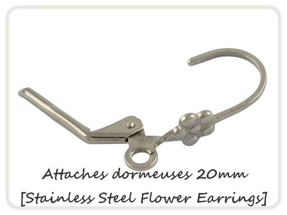 Earrings sleepers flowers 20mm x 2 steel [Stainless Steel Flower Earrings.