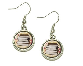 Stack Of Books Dangling Drop Charm Earrings