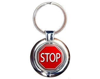 Stop Sign Stylized Red Grey Keychain Key Ring