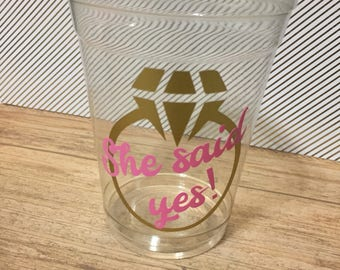"12 Bridal Shower ""She said yes!"" Party Cups"