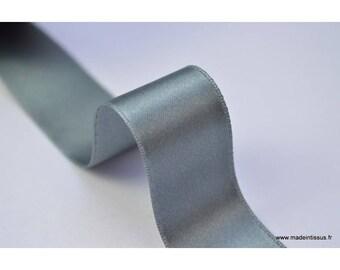 Ruban SATIN double face gris , 25 mm, au mètre