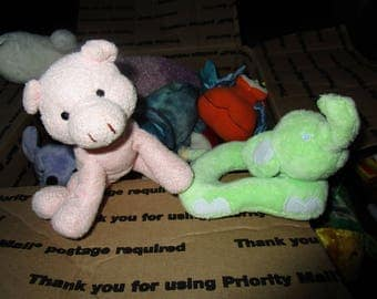 Two Soft Plushie Baby Rattles - Pink Pig and Green Elephant Baby Toys