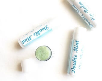 Essential Oil All Natural Lip Balm Beeswax - Double Mint Lip Gloss, Chapstick, Stocking Stuffer, Gift for Her, Mother's Day Gift