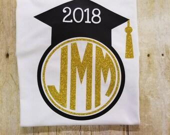 Senior Shirt, Monogram Shirt, Graduate Shirt, Graduation hat tee, personalized tee, senior 2018, senior day shirt, senior gift, glitter tee
