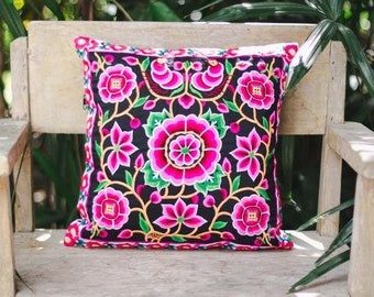 "Thailand Hmong Hill Tribe Embroidered Pillow Case 16""x16"""