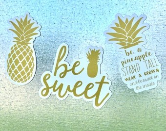 Pineapple Magnets , Gold Pineapple Refrigerator Magnet ,Pineapple Gift , Beach Gift Set , Kitchen , Home , Be Sweet, Cute Home Decor , Gold