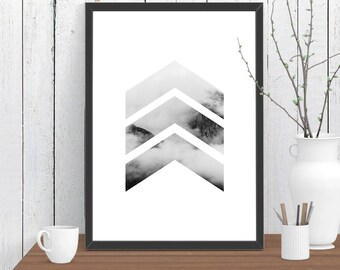 Chevrons Cloud Mountain Print, Wall Art, Room Decor, Modern, Minimalist, Poster AA4 A3 A2 8x10 11x14 12x18 16x20