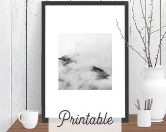 Square Cloud Mountain PRINTABLE Print | Scandi Wall Art | Modern Room Decor | Minimalist Downloadable Poster