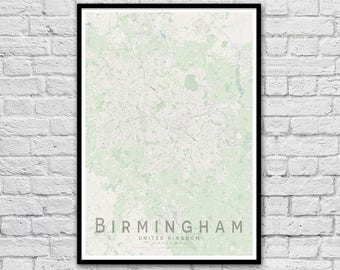 BIRMINGHAM, United Kingdom City Street Map Print | Wall Art Poster | Wall decor | A3 A2