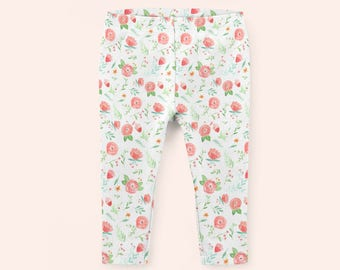 ORGANIC BABY PANTS floral baby leggings made to order