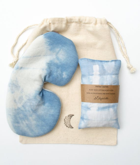 Indigo Sleep Set, Cotton Eye Mask, Organic sleep mask, Bohemian Accessories, Birthday Present, Lavender Sachet, Travel Set, Travel Gift