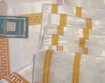 SPRING SALEVintage Tablecloth Set Bates 6 Napkins Yellow Gold NOS Greek Key Crysanthemums