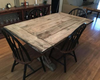 Distressed Wood Indoor/Outdoor Farmhouse Table w/ Trestle base
