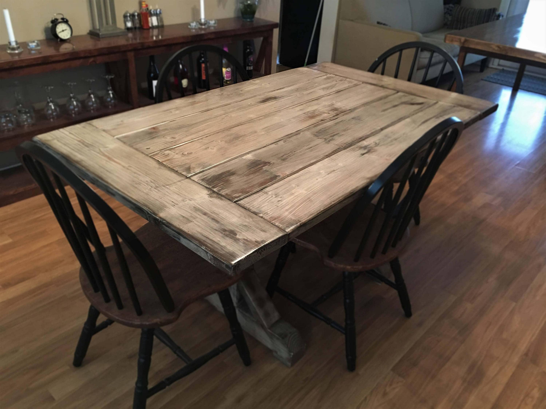 distressed wood indoor outdoor farmhouse table w trestle base. Black Bedroom Furniture Sets. Home Design Ideas