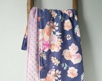 Watercolor floral baby blanket, minky baby blanket, floral baby blanket, cotton and minky blanket, soft cuddle blanket, baby girl gift
