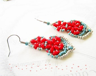 Woven earrings, navette, super-duos coral and turquoise