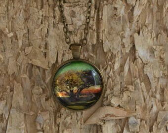 """Photo Pendant, Magical, Tree, Nature Inspired Photography, Leaves, Brass, Silver, Copper,30mm Round Pendant, 24"""" matching chain"""