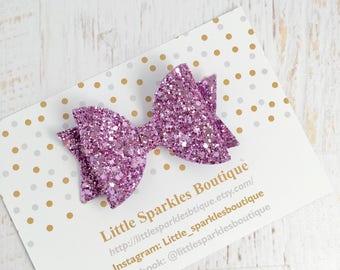 Purple glitter hair bow, girl/baby hair bow