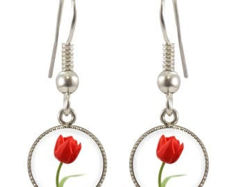 CB Red Tulip Design Silver Plated Earrings in Gift Box