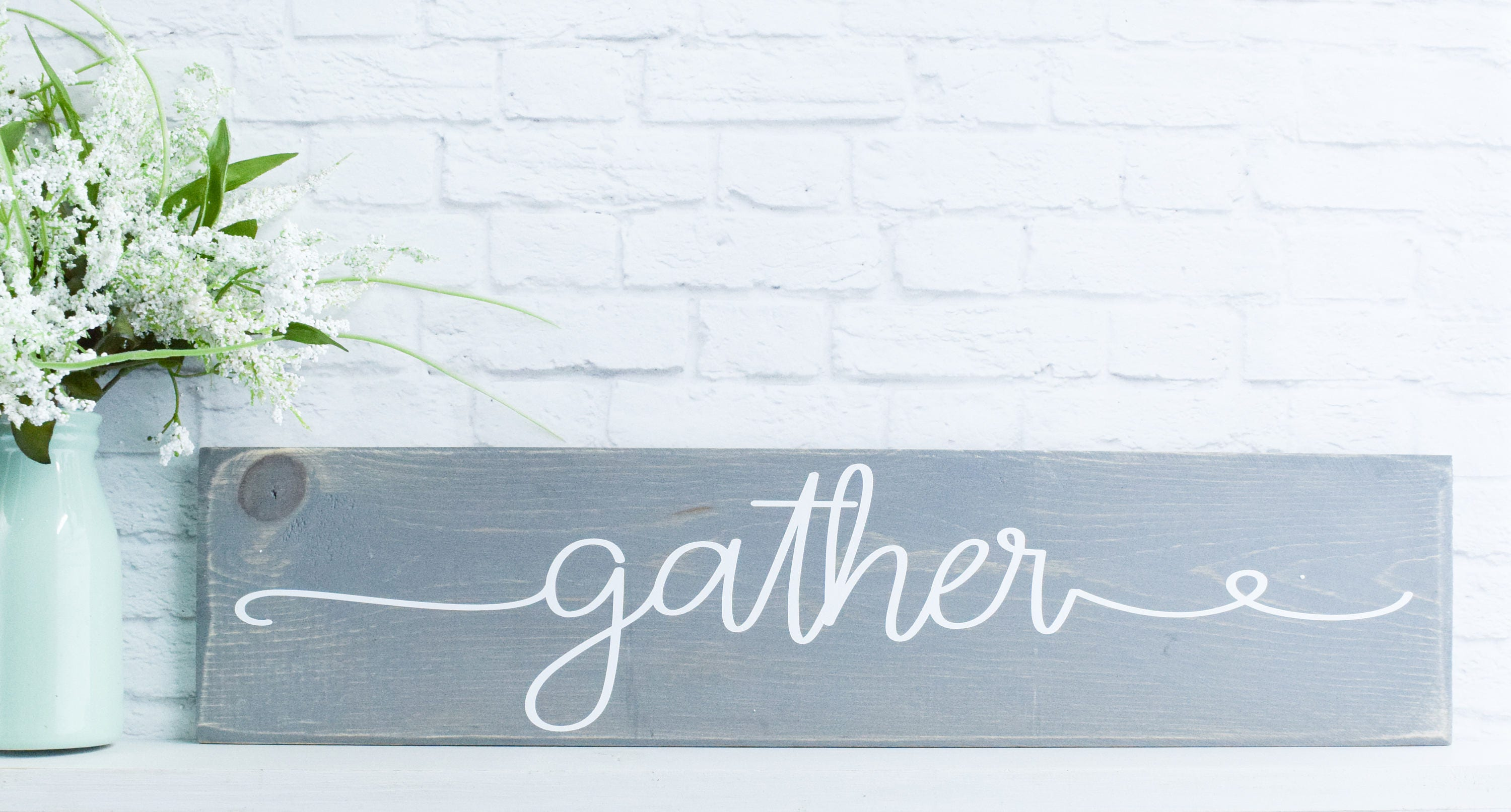 Gather Wood Sign C Wooden Sayings Wall Décor C Rustic Farmhouse Sign C   Custom  Signs