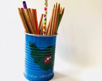 Homesick tin can vase pencil holder