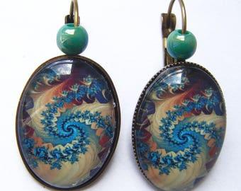 Earrings swirl style blue and green mandala
