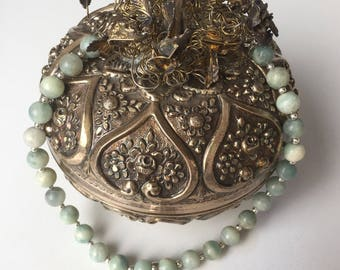 Turkish Silver and Jade Necklace, Ottoman Jewelry- Free Deomestic and International Shipping