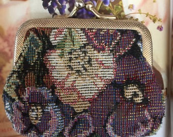 Vintage Tapestry Coin Purse, Mini Coin Purse