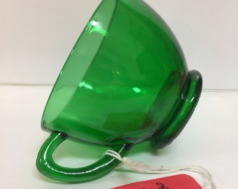 Vintage Emerald Green Depression Glass Cup, Vintage Green Cup