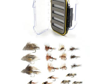 Fly Fishing Gift Set - 18 of Our Premium Hand-Tied Trout Fly Fishing Flies in Waterproof Shirt Pocket Fly Box - 6 Patterns Wet and Dry Flies
