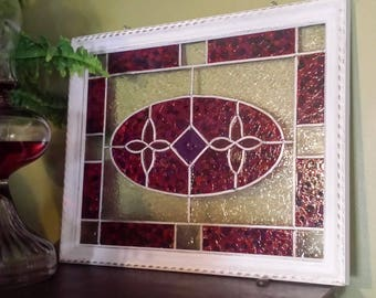 Large 11x14-Framed-Faux Stained Glass- Window Panel-Made to Order-Suncatcher-Painted Glass-Window Hanging-Glass Art-Custom Made-House Gift