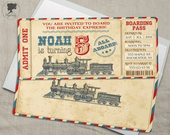 Train Ticket Invitation, Vintage Train Ticket, Train Invite, Train Ticket Thank you card, Train birthday, Train party, Old train, Custom