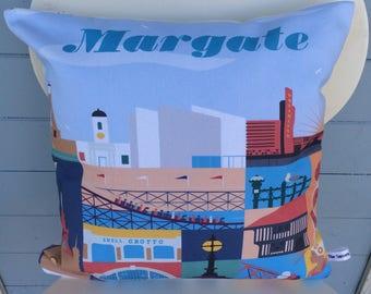 Margate cushion, Margate Kent pillow, Art Deco gift, Seaside gift, vintage Kent seaside cushion, Home Decor