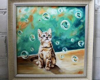 Kitten Painting Cat Painting Framed Painting Original Oil Painting Pet Art Framed Art Canvas Art Cat Art Animal Painting Original Art