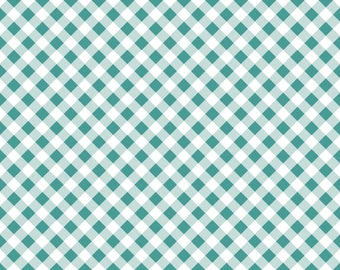 Wonderland Teal Gingham Cotton Fabric