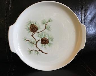 Vintage handled pinecone cake/serving tray .