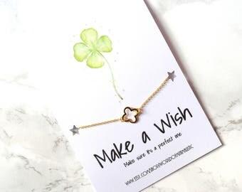 Four leaf clover minimalist bracelet, graduation wish bracelet, wedding gift, good luck jewelry, dainty delicate friendship bracelet