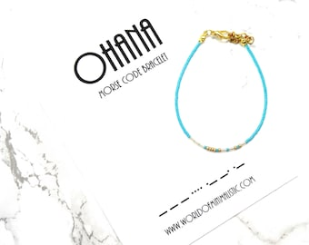 OHANA morse code bracelet, ohana jewelry, personalized family bracelet, minimalist dainty jewelry, simple adjustable fine bracelet