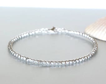 Silver Beads Bangle- Laser Cut Bangle-Gift Jewelry-Delicate Bracelet- Faceted Beads Bangle- Bridesmaids Gift- Shiny Silver Bangles-BS 33