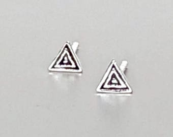 Silver Triangle Earrings, Oxidized Triangle Earrings, Minimalist Silver Ear Studs, Gifts For Her, Dainty Earrings, Bohemian Ear Studs (182)
