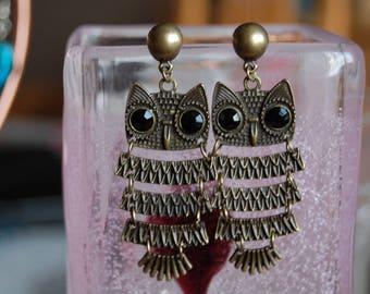 beautiful bronze OWL earrings. Stud clip