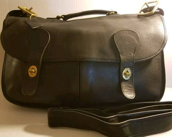 Rare Vintage Coach Musette Carrier Black Leather  Messenger Briefcase~ NYC USA